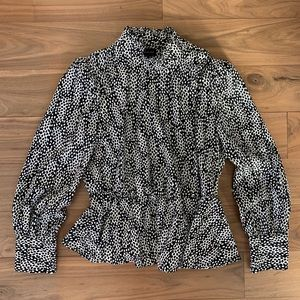 Who What Wear Black and White Patterned Blouse